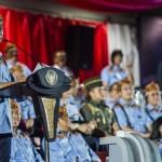 Presiden Joko Widodo menyampaikan sambutan saat pembukaan PON XIX Jabar di stadion Gelora Bandung Lautan Api, Bandung, Sabtu (17/9). Perhelatan olahraga empat tahunan itu secara resmi dibuka dan berlangsung hingga 29 September 2016. ANTARA FOTO/M Agung Rajasa/aww/16.